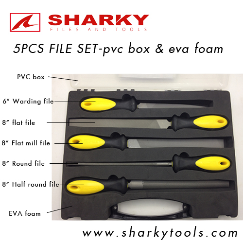 5 pcs file set in pvc box and eva foam